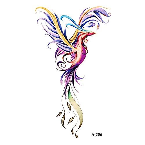 WYUEN 5 Blätter Wasserdicht Phoenix Tattoo Fake Tattoo Aufkleber Für Frauen Männer Hand Körper Kunst 9,8X6 cm FA-206