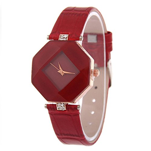 Valentinstag Uhren DELLIN Mode Strass Armbanduhr Damen Kleid Uhr Quarzuhr (Rot)