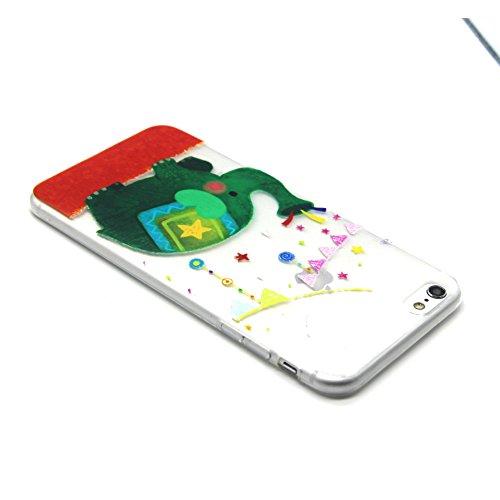 iPhone 5S Case,iPhone 5 Cover - Felfy Apple iPhone 5/5S Ultra Slim Dünnen Weiche Soft Gel romantisch Mond Lichter Liebhaber Muster TPU Silikon Back Bumper Hülle Zurück Tasche Etui Protective + 1x Schw Grün Elefant