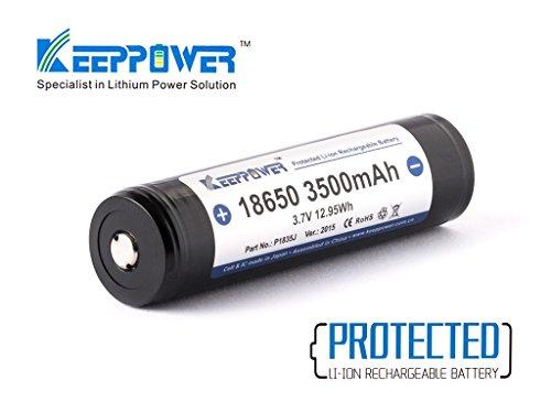 Keeppower 18650-3500mAh 3,6V - 3,7V Li-Ion-Akku geschützt (Pluspol erhöht + 4mm) NCR18650GA