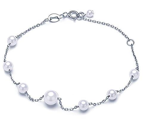 Unendlich U Fashion Damen Charm-Armband 925 Sterling Silber Perlen Armkette Verstellbar Armkettchen Armreif, Silber