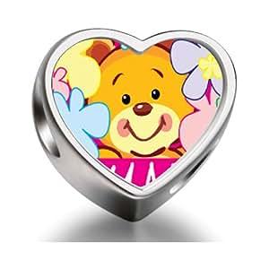 J'aime Maman ours mignon Perles de coeur Charme photos