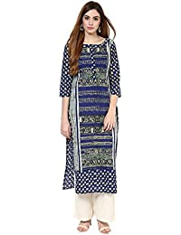 Jaipur Kurti Cotton Complete Set Of Blue Kurta And Off White Rayon Palazzo