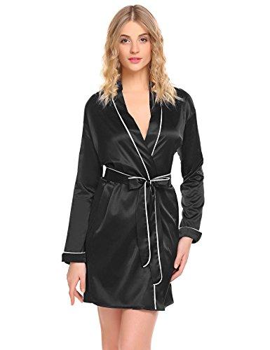 Damen satin Morgenmantel Robe Kimono Bademantel kurzarm Nachthemd Nachtwäsche spitze Schlafanzüge sleepwear, Schwarz 8730, Gr. XL(46-48)