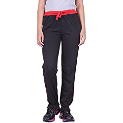 DFH Women's Regular Fit Track Pant (WPBL1, Black, X-Large)