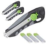 Relaxdays 3 x Profi Cuttermesser mit Ersatzklingen, Cutter, Abbrechklingen 18 mm, Gummigriff, Universalmesser, schwarz/grün