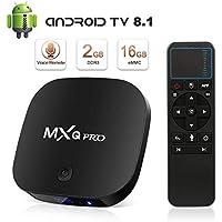 TV Box Android 8.1 Boîtier TV 4K 3D [2018 Dernière Version] [2GB RAM+16GB ROM] SUPERPOW MXQ Pro S Android 8.1 Smart TV Contrôle Vocal, Android Box avec HD/H.265 / 4K / 3D (mxq Pro s)