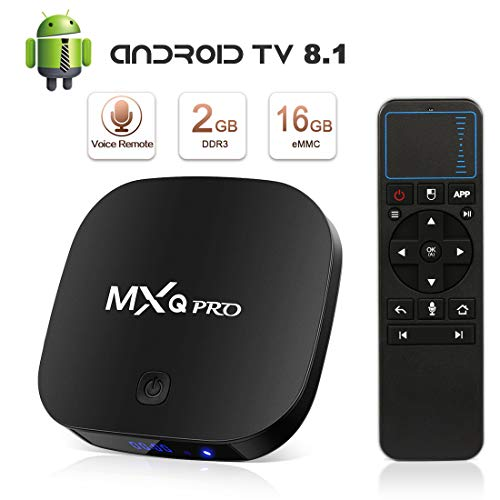 Android 8.1 TV Box, Superpow MXQ PRO S Smart TV Box Quad Core 2GB RAM+16GB ROM,widevine L1,4K*2K UHD H.265, HDMI, USB*2, WiFi Media Player, Android Set-Top Box con Telecomando Vocale (black)