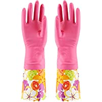vahome Cute Cleaning Glove Kitchen Gloves Waterproof Household Dish Washing Laundry Gloves with Lining,1 Pair (Pink+Flower)