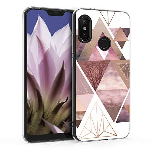 kwmobile Funda para Xiaomi Redmi 6 Pro/Mi A2 Lite - Carcasa de TPU para móvil y diseño de triángulos en Rosa Claro/Oro Rosa/Blanco