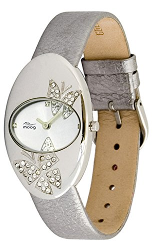 Moog Paris Butterflies Women's Watch with White Dial, Silver Genuine Leather Strap & Swarovski Elements - M44292F-104
