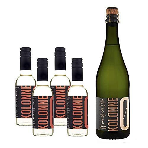 Kolonne Null - Aktionspackung mit alkoholfreiem Sekt (1 x 0,75 L) und Wein (4 x 0,25 L) - Grüner Veltliner Jahrgang 2018