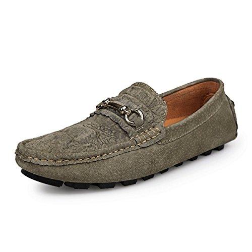Chaussures Casual Sandales En Cuir D'été Paresseux De CHT Hommes Khaki