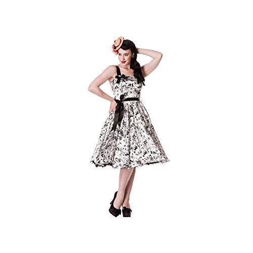 Hell Bunny - Tattoo Flock Dress Rockabilly Kleid Weiss/Schwarz (L)