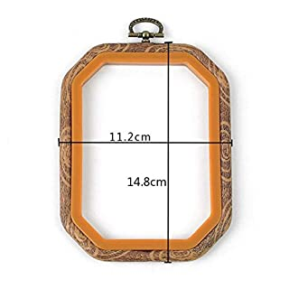 JVSISM Embroidery Hoops Cross Stitch Hoop Ring Imitated Wood Circle Set Display Frame for Art Craft Handy Sewing and Hanging 2 Pcs 4.3by5.9inch
