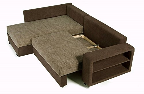 Sofa Couch Ecksofa Houston Schlaffunktion Schlafsofa schwarz/grau Eckcouch - 4