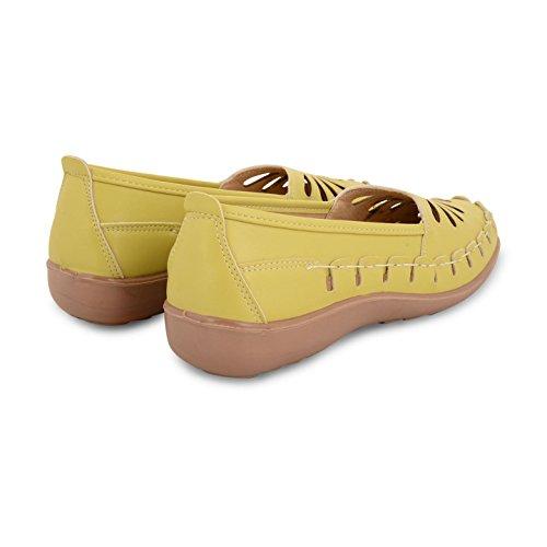 Damen Flach Niedriger Absatz Ballerina Pumpen Lässiges Sommer Loafer Schuhe Größen UK Lime