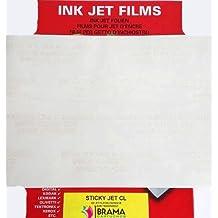 Bramacartuchos - 5 X hojas de Papel con recubrimiento especial con un adhesivo permanente que se adhiere a casi todos las superficies limpias. Se puede utilizar para crear y deseñar sus propias pegatinas, etiquetas, carteles, calcomanías, con impresoras de tinta. Para uso interior.