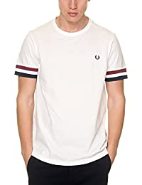 T-SHIRT FRED PERRY STRIPED CUFF BLANC M1533-100
