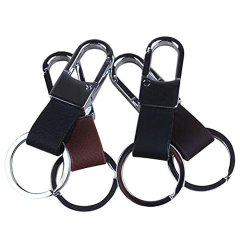 Wetrys 1 Pcs Black Men's Faux Leather Strap Keyring Keychain