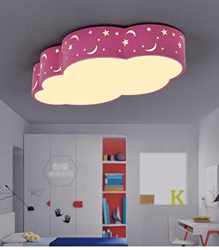 XHOPOS HOME lámparas de techo luces deIluminación para niños LED lámparas de techo nubes Dibujos animados niños niñas Salón Comedor Rosa 50cm regulable