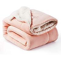 Bedsure Manta Reversible de Franela/Sherpa 150x200cm - Manta para Cama 90 de 100% Microfibra Extra Suave - Manta de Felpa Rosa Claro