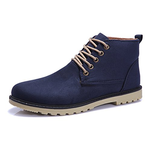 Men's PU Leather High Top Casual Shoes blue