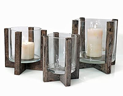 Windlicht Rustica Holz Glas H 20 cm Laterne Kerzenhalter