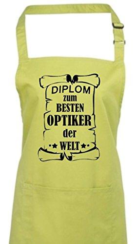 Tablier, diplôme au meilleur Opticiens le monde, Coton mélangé, citron vert, 72 cm x 86 cm