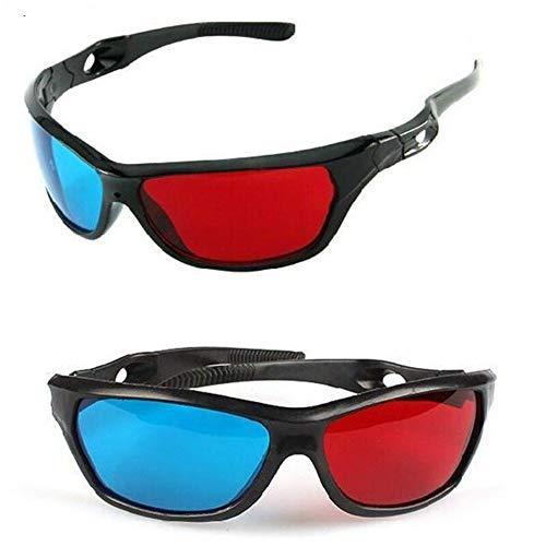 New Black Frame Universal 3D Kunststoff Brille/Oculos/Rot Blau Cyan 3D Glas Anaglyph 3D Movie Game DVD Vision/Kino (Color : Black)