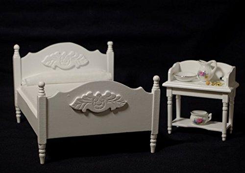 Schlafzimmer Set weiss 4 Teile Puppenhaus Möbel Miniaturen 1:12