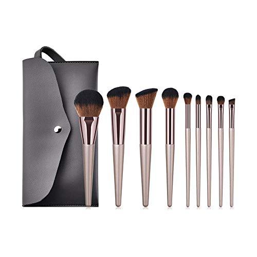 Cdet 9Pcs Kit De Pinceau Maquillage avec Manche en Bois trousse de toilette Make Up Brush Ensemble Fondation Mélange Blush Yeux Visage Poudre Tête de brosse à café noire