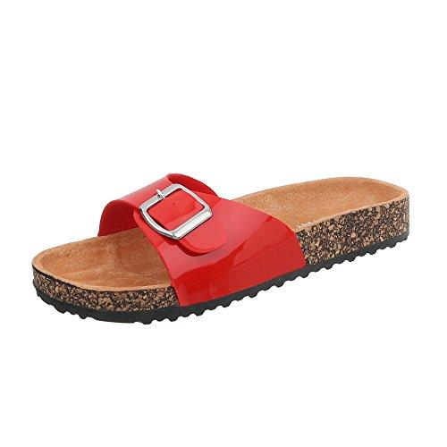 Ital-Design Pantoletten Damen-Schuhe Leichte Sandalen Sandaletten Rot, Gr 39, ()