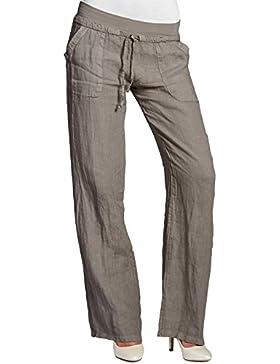 Caspar KHS025 Pantalones Largos de Lino para Mujer Corto Holgado