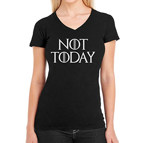 NOT Today - GOT Serien Fan Damen T-Shirt V-Ausschnitt Large Schwarz