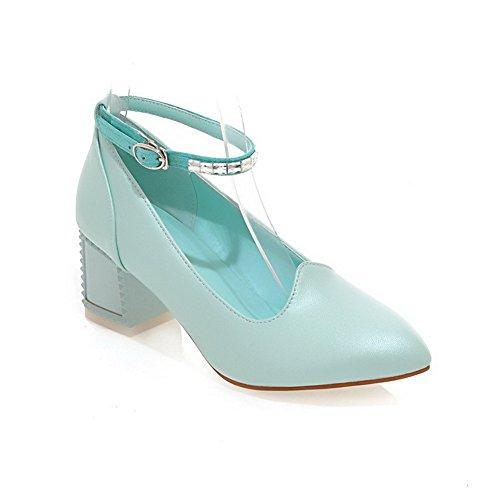 VogueZone009 Femme Fermeture D'Orteil Pointu à Talon Correct Boucle Couleur Unie Chaussures Légeres Bleu