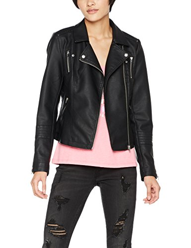 ONLY Damen Jacke Onlgemma Faux Leather Biker OTW Noos, Schwarz (Black Black), Large...