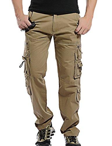 Menschwear Herren Cargo Hosen Freizeit Multi-Taschen Military pantaloni Ripstop Cargo da uomo (30,Khaki) (Jacket Leather Field Womens)