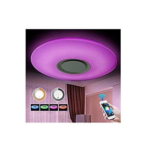 SZ&LAM LED-Musik-Deckenleuchten Mit Bluetooth-Lautsprecher Und Handy-APP, RGBW, Weiß Zu Warm Lichtschalter 3300K-6500K Farbtemperatur, 3600Lm, Flush Mount Light,50Cm -