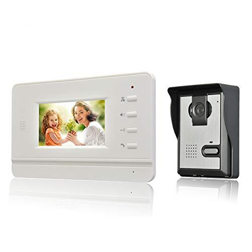 Nudito Kit Videocitofono in Stile Piatto e Fine per Casa. Video Citofono Porta (1 X Monitor LCD da 4,3 Pollici, 1 X Telecamera Esterna a Infrarossi Impermeabile con Visione Notturna)