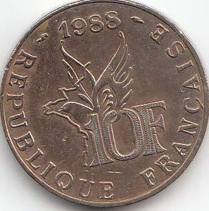 Generic Frankreich KM-Nr.: 965 1988 vorzüglich Aluminium-Nickel-Bronze 1988 10 Francs Roland Garros (Münzen für Sammler)