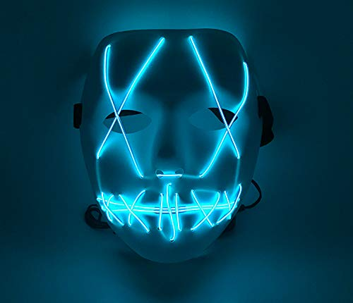 Upolymall LED Grimace Horror Glowing Mask Party Mask, Cold Light Ghost Walk Holiday Party Mask, Halloween Role Dress Up Cool Mask (blauw)