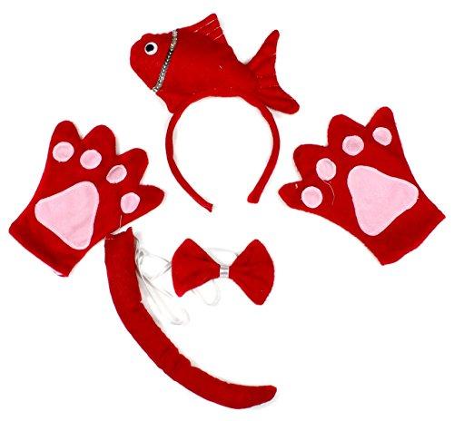 Fisch Kostüme Roter (Cute Fische rot Stirnband Schleife Schwanz Handschuhe 4Kostüm für Kind Geburtstag Party Gr. One size,)