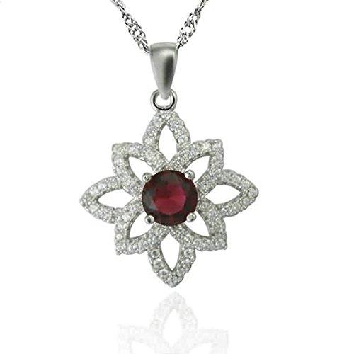 AMDXD Schmuck 925 Silber Damen Kette 4-Klaue Runde Rot Zironia Hohl Blume Halskette (Perle Feder Maske Onyx)