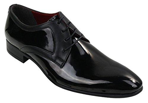 Herrenschuhe Glänzend Leder Optik Schwarz Schnürsenkel Muster Schwarz