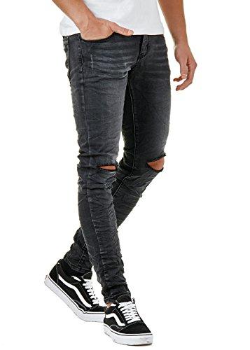 EightyFive Herren Denim Destroyed Jeans Hose Skinny Fit Zerrissen Schwarz EFJ770, Farbe:Schwarz, Hosengröße:W34 L32