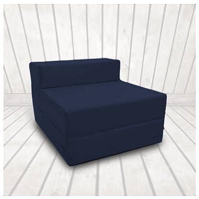 Single 1 Seater 100% Cotton Twill Fold-Out Zbed Futon Mattress, Navy Blue - inexpensive UK light shop.