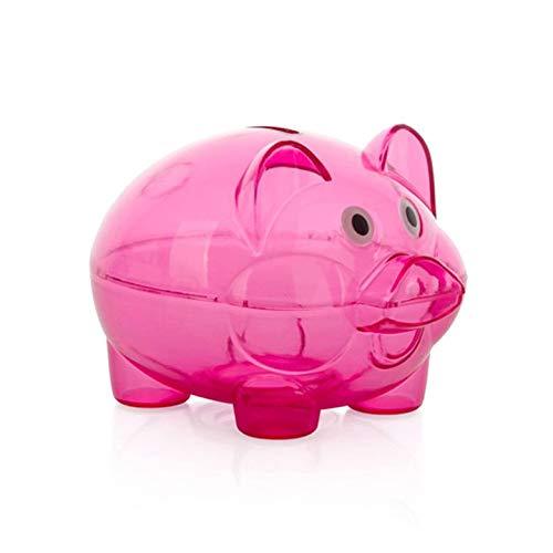 (Kurphy roter transparenter Plastikgeldeinsparung-Kasten-Kasten-Münzen-Sparschwein-Karikatur-Schwein geformt)