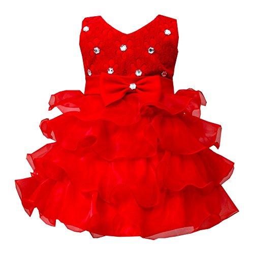 LaoZan Senza Maniche Ragazze Vestito Bambina Ruffles Tulle Tiered Strass Partito Compleanno Principessa Abito Rosso 130CM / 4-5 anni