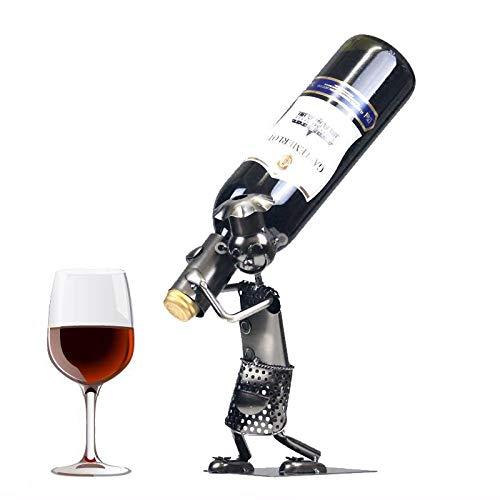 QHY Weinregal Restaurant Bar Küchendekoration Einfache Moderne Schmiedeeisen Handwerk Paar Geschenk Galvanik Prozess Unabhängige Weinregal Wein Schrank,Schwarz,A - Schwarz Wein-kabinett